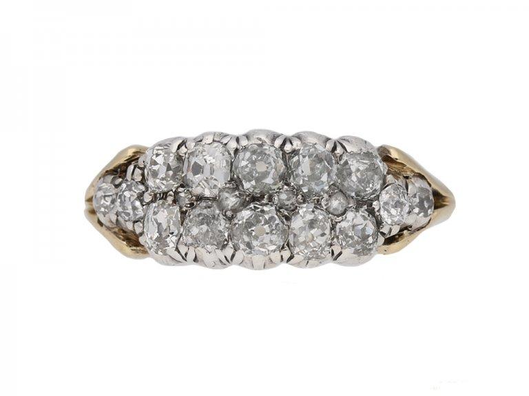 front view antique diamond cluster ring berganza hatton garden