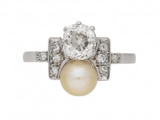front view art deco pearl diamond ring hatton garden berganza