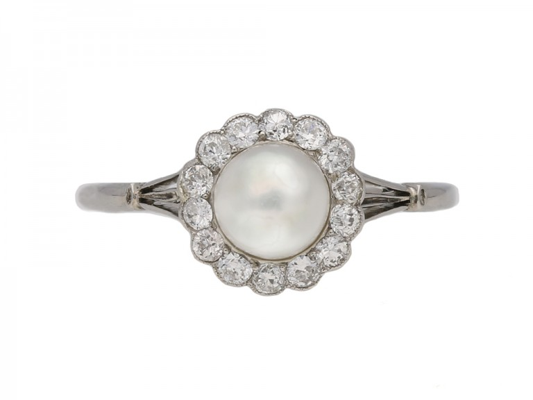 front veiw antique pearl diamond ring berganza hatton garden