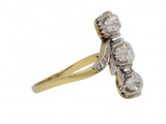 front view antique diamond crossover ring berganza hatton garden