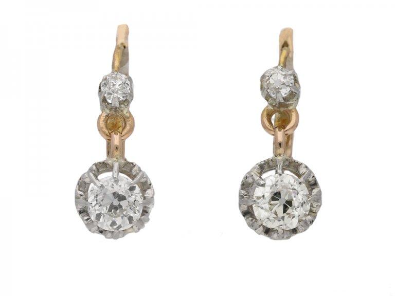 front view antique diamond drop earrings berganza hatton garden