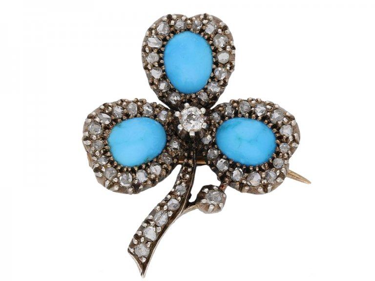 front view antique diamond turquoise brooch berganza hatton garden