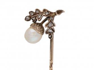 front view Antique pearl diamond pin berganza hatton garden