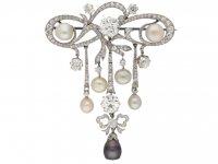 front view diamond natural pearl brooch hatton garden berganza
