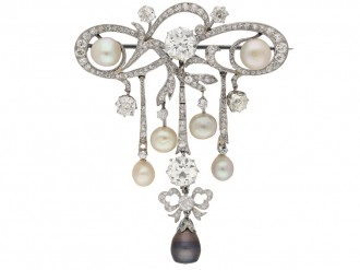 front view diamond natural pearl brooch hatton garden berganza