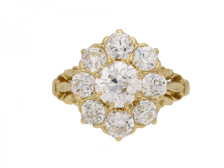 front view antique diamond cluster ring hatton garden berganza
