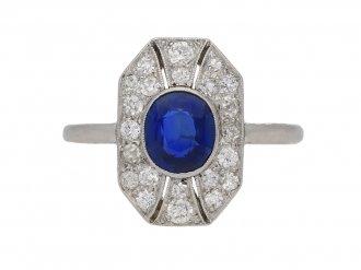 front view antique diamond sapphire ring hatton garden berganza