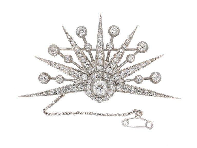 front view antique diamond brooch berganza hatton garden