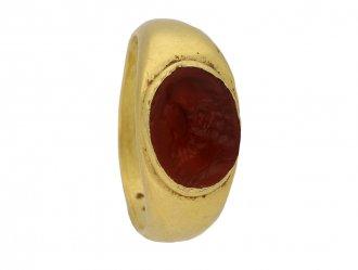 ront veiw ancient roman intaglio ring berganza hatton garden