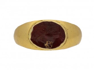 front view ancient roman intagilo ring berganza hatton garden