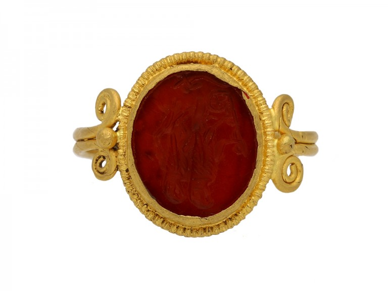 front vview ancient roman ring berganza hatton garden