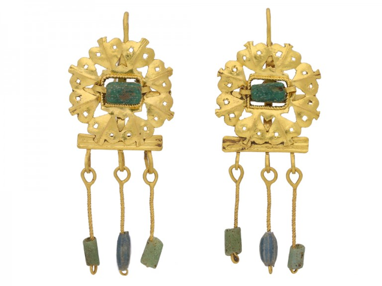front view ancient roman emerald gold earrings berganza hatton garden