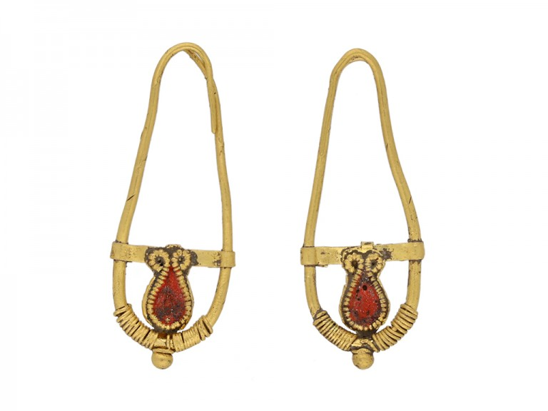 front view Ancient Roman gold earrings berganza hatton garden
