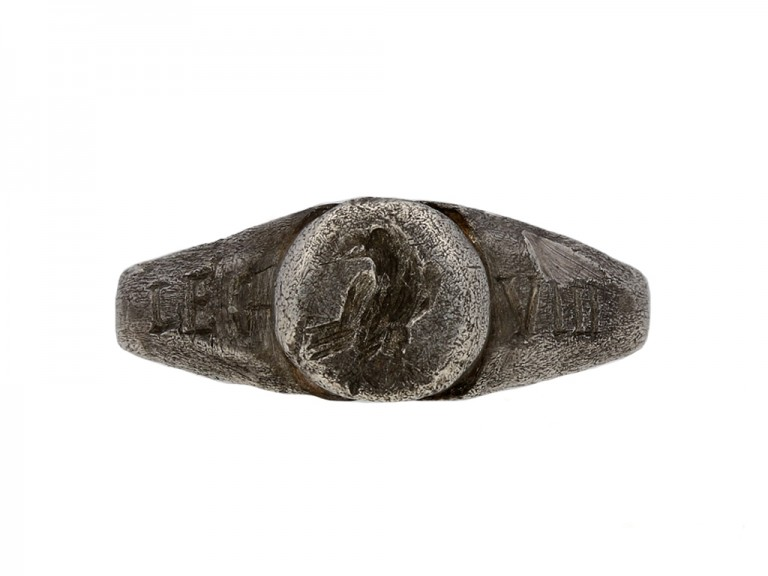 front view Ancient Roman silver ring berganza hatton garden