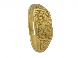 front view Medieval iconographic ring berganza hatton garden