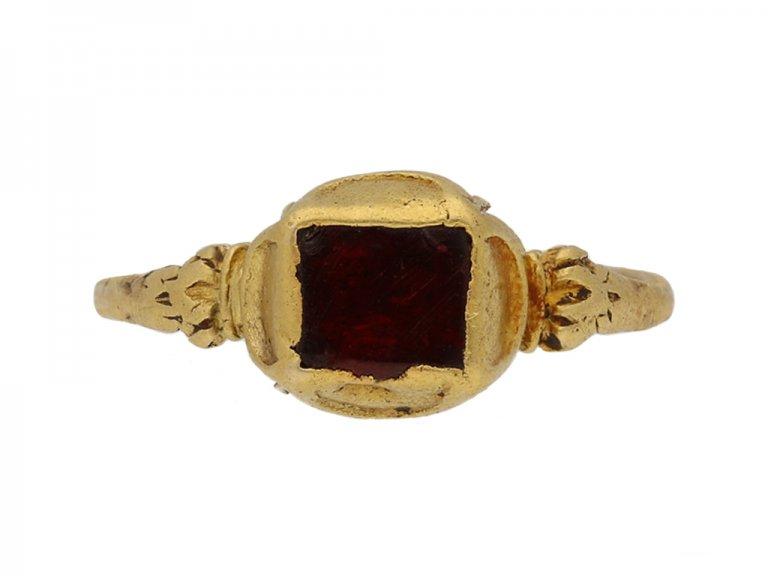 front view Medieval garnet gold ring berganza hatton garden