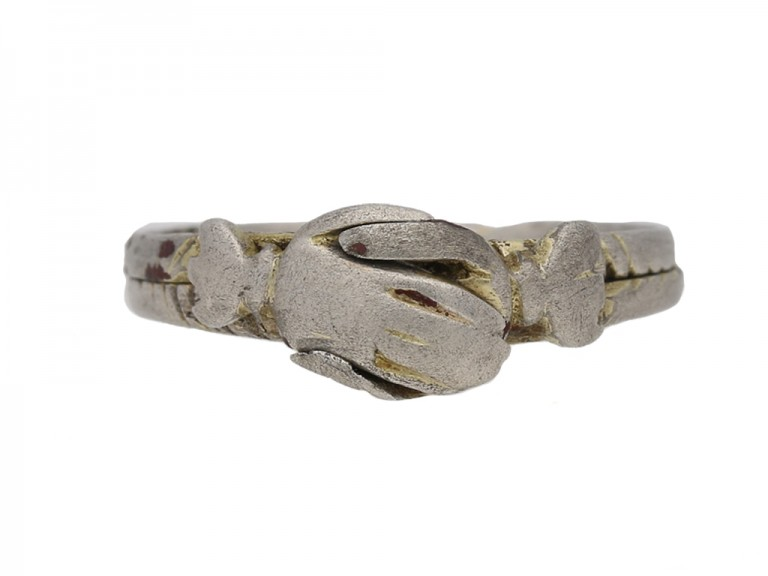 front view Medieval silver gimmel ring berganza hatton garden