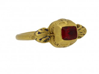 front view Tudor gold ring spinel berganza hatton garden