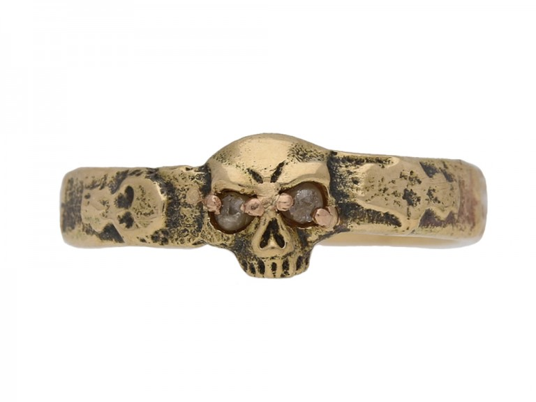 front view antique georgian skull ring berganza hatton garden
