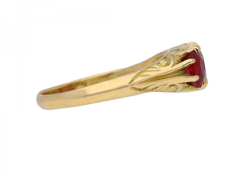 front veiw Antique ruby diamond carved ring berganza hatton garden