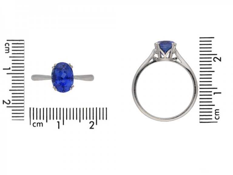 front view antique sapphire engagement ring berganza hatton garden