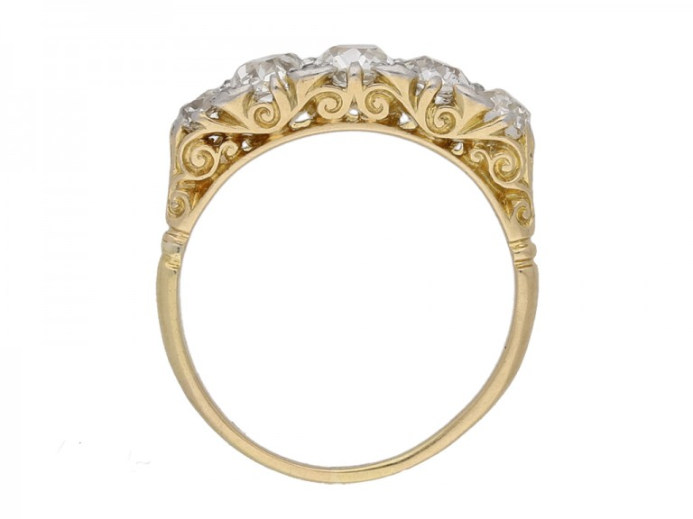 front view antique diamond carved ring berganza hatton garden