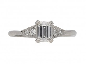 front veiw art deco diamond engagement ring berganza hatton garden
