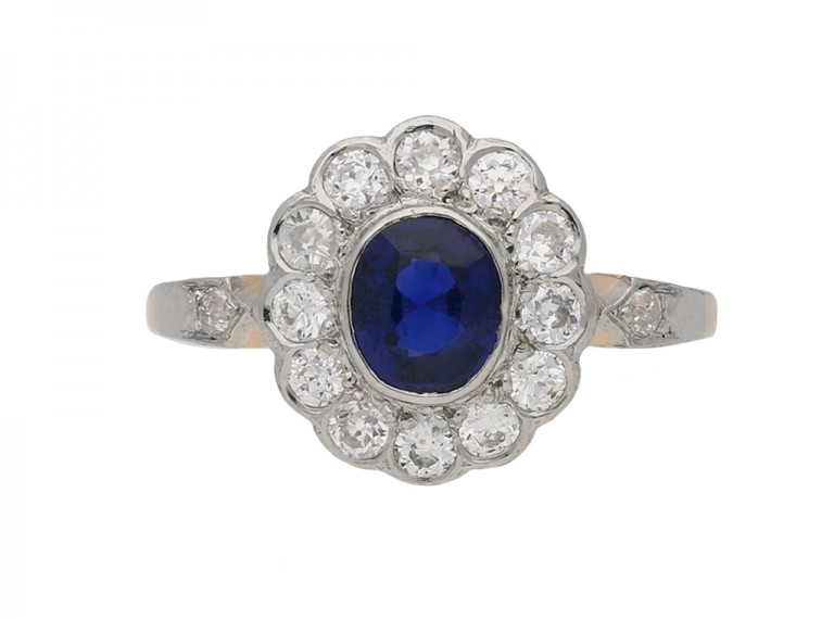 front view antique diamond sapphire ring berganza hatton garden
