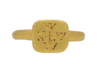 front view Byzantine gold ring berganza hatton garden