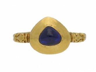 front view Medieval sapphire ring berganza hatton garden
