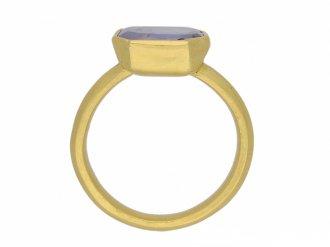 Post Medieval gold Sapphire ring berganza hatton garden