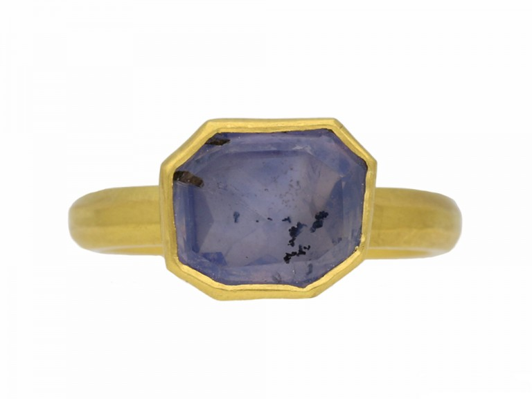 front view Post Medieval gold Sapphire ring berganza hatton garden