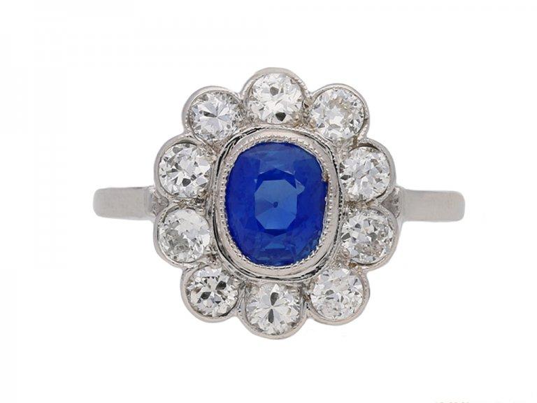 front veiw kashmir sapphire diamond ring berganza hatton garden