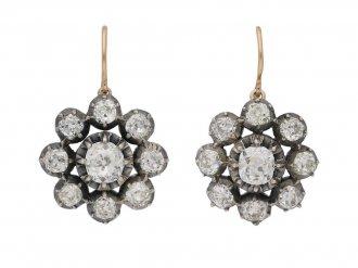 front view antique diamond cluster earrings berganza hatton garden