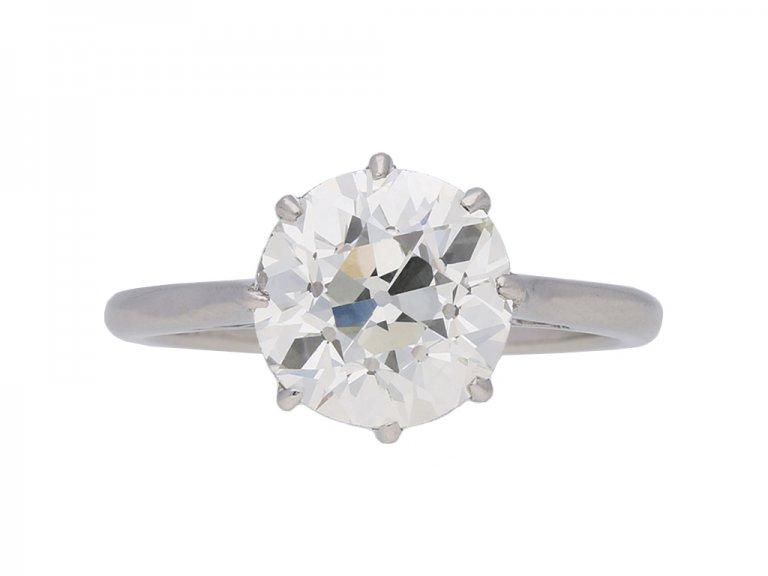 front veiw antique diamond engagement ring berganza hatton garden