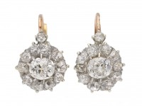 front antique diamond cluster earrings berganza hatton garden
