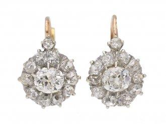 front antique diamond cluster earrings berganza hatton garden
