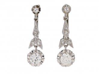 front view Art Deco diamond earr