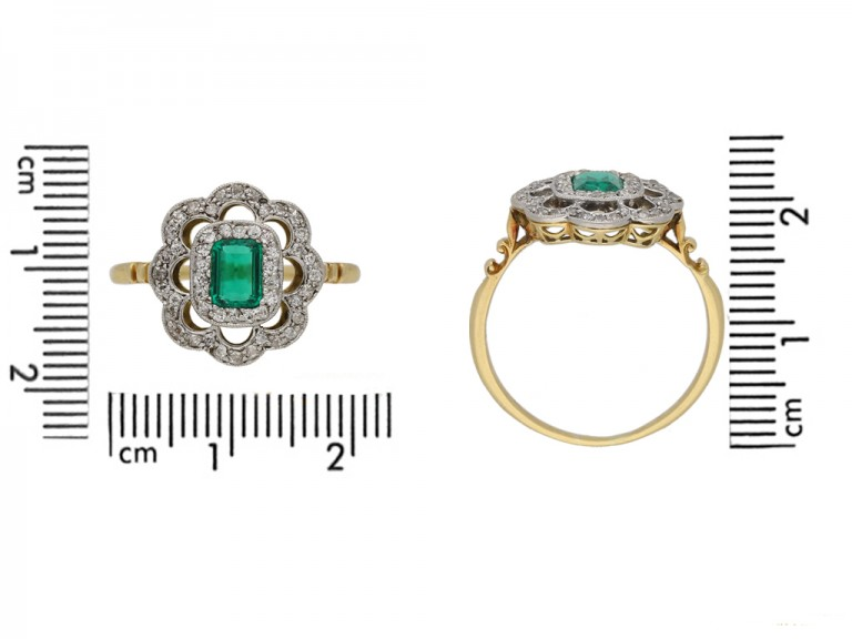 front view antique diamond emerald ring berganza hatton garden