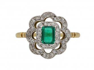 front view antique diamond emerald ring berganza hatton garden