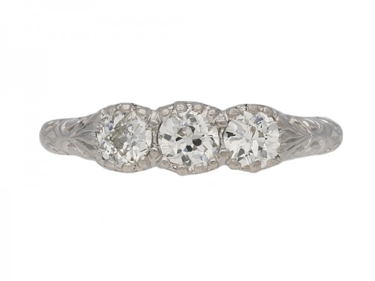 front view antique diamond 3 stone ring berganza hatton garden