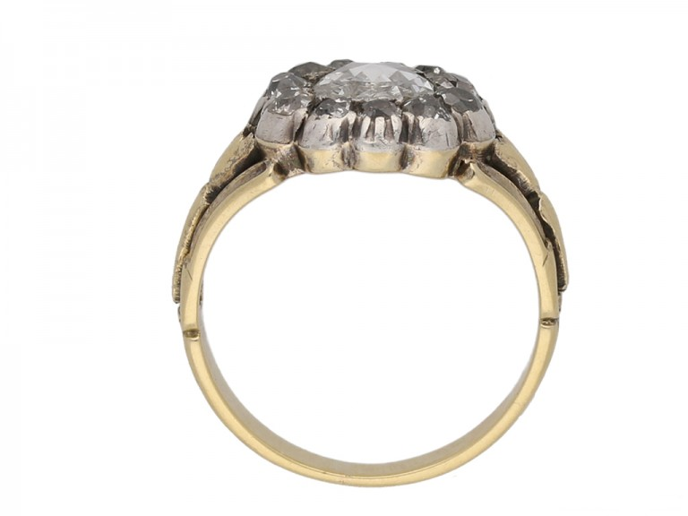 front view georgian cluster diamond ring berganza hatton garden