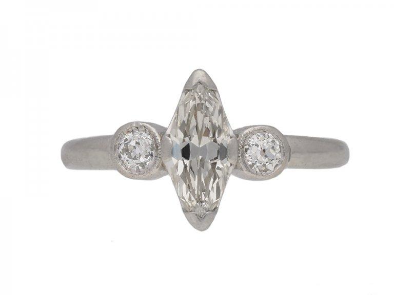 front view Art Deco marquise diamond ring berganza hatton garden