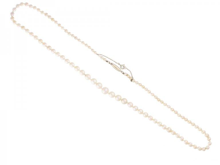 front Vintage natural pearl necklace berganza hatton garden