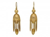 front view Victorian drop earrings berganza hatton garden