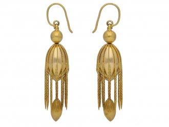 front view Victorian drop earrings berganza hatton garden