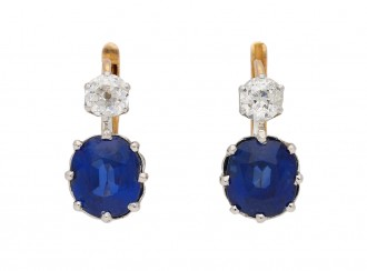 front view antique diamond sapphire earrings berganza hatton garden
