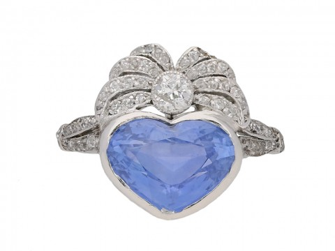 Heart shaped Ceylon sapphire and diamond ring hatton garden
