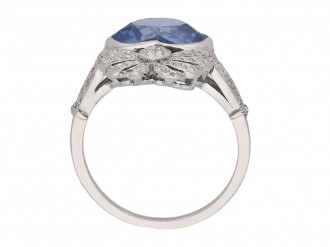 Heart shaped Ceylon sapphire and diamond ring hatton garden