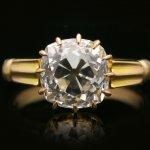 Antique old mine diamond solitaire ring, English, circa 1890.